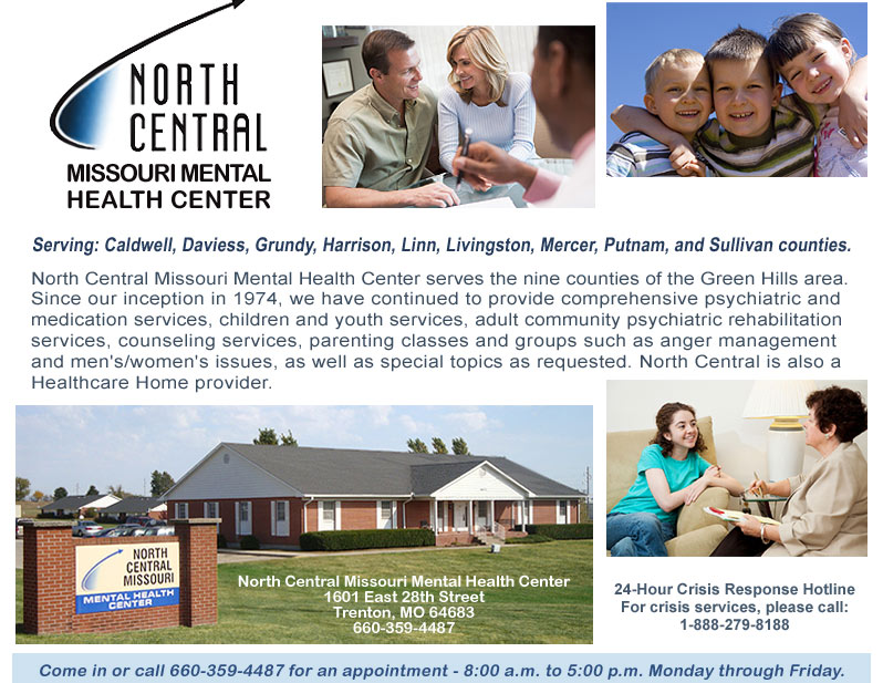 North Central Missouri Mental Health Center serving nine counties in the Green Hills' area